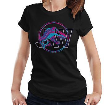 ジュラシックパークJW Tレックスブルーとピンクグラデーション女性&アポス;s Tシャツ