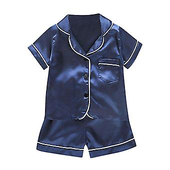Pasgeboren babykledingset, solid pocket pyjama pyjama's met korte mouwen en tops