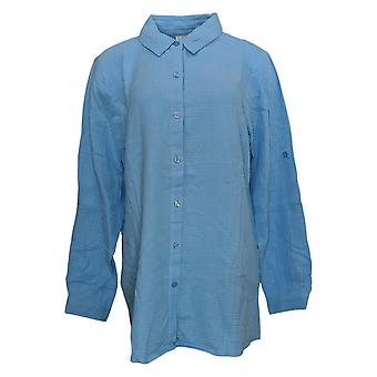 Coleção Joan Rivers Classics Women's Top Crinkle Boyfriend Blue A351489