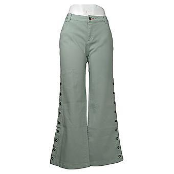 Peace Love World Women's Jeans 6 Petite Garment Dyed Button Green A347443