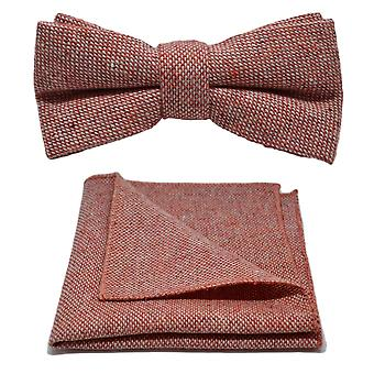 Highland Weave Stonewashed Brick Red Bow Tie & Conjunto quadrado de bolso