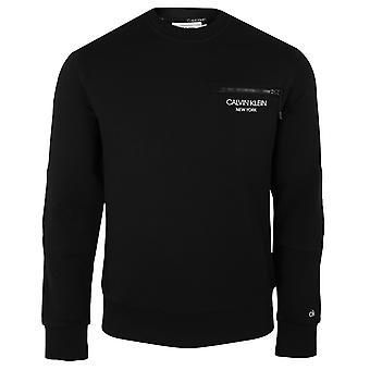 Calvin klein men's ck black elevated chest zip sweatshirt