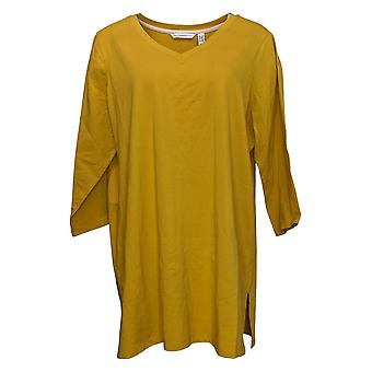 Isaac Mizrahi Live! Women's Plus Top 3/4 Sleeve Knit Yellow A384098