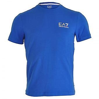 EA7 امبريو أرماني القطار شعار معرف الأساسية الرقبة طاقم الطائرة الصغيرة القميص الأزرق الملكي،