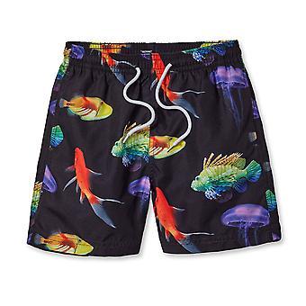 Deskové šortky s neonovou rybou na černé