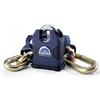 Squire Samson Sold Secure Gold 80 Boron 16mm Closed Shackle Lock with 16mm x 1.5m Chain