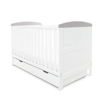 Ickle Bubba Coleby Classic Cot Bed Under Drawer - White with Grey Trim