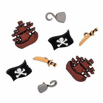 LAST FEW - Pack of 8 Novelty Pirate Theme Buttons For Sewing and Haberdashery