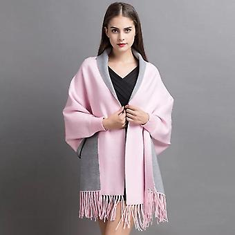 Women Winter Poncho With Sleeve Scarf Autumn