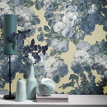 Elle Decoration Floral Baroque Wallpaper Teal Light Gold 1015302