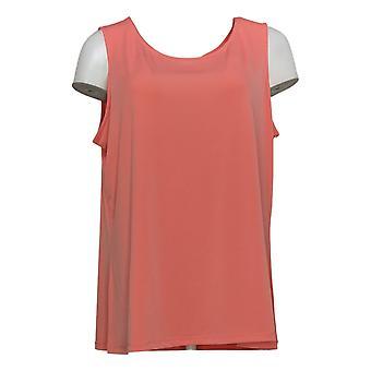 Susan Graver Women's Top Liquid Knit Tank Scoop Neck Pink A376685