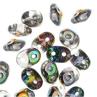 SuperDuo 2-Hole Tsjechische glazen kralen, kristal / vitraal, 2x5 mm, 8 g buis
