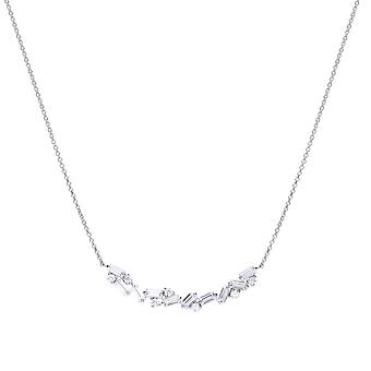 Diamonfire Womens 925 Sterling Silver Rhodium, Palladium & Platinum Plated Clear Cubic Zirconia Baguette Stone Scatter Design Halsband av längd 40cm - 45cm