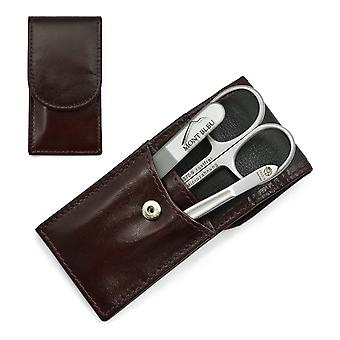 Hans Kniebes' Sonnenschein 3-piece Manicure Set in Nappa Leather Case, Made in Germany - Brown