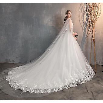kinesisk brudekjole med lang lue blonder brudekjole