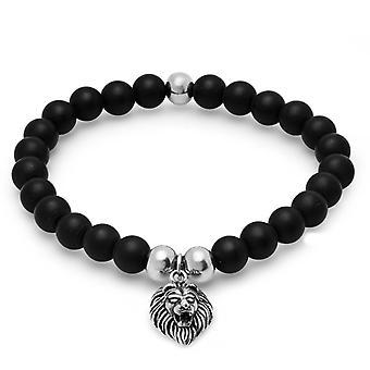Acciaio inossidabile Uomo Perline Nere Segno Zodiaco Leone Testa Bracciali Allungabili Regali gioielli per gli uomini