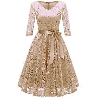 Bridesmaid Dress, Half Sleeves Lace Party Dress