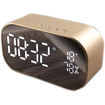 Draadloze Bluetooth LED Wekker - Dubbele luidspreker met spiegeloppervlak - Tijdherinnering - Kamerdecoratie, Goud