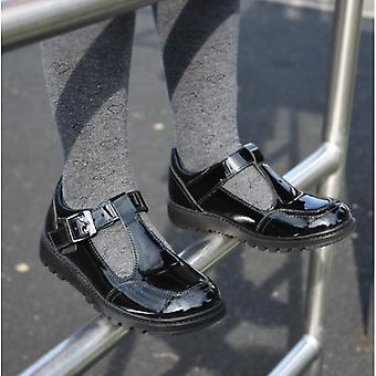 Hush Puppies Kerry Jnr Girls Leather Buckle Shoes Patent Black