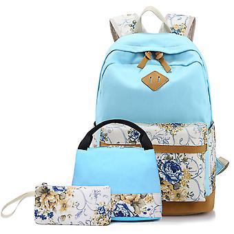 3pcs printed canvas shoulders, handbag, pencil case