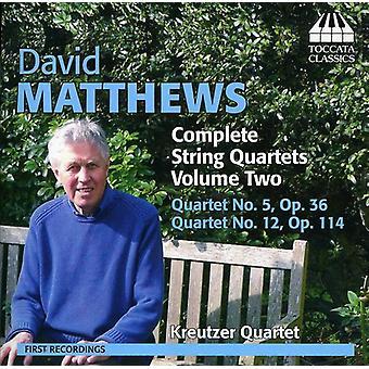David Matthews - David Matthews: Complete String Quartets, Vol. 2 [CD] USA import