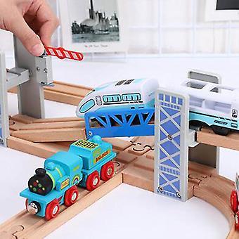 Wooden Double Deck Bridge Overpass Toy Train Tracks Railway Accessory.