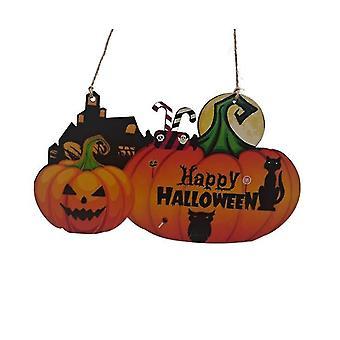 Halloween Pumpkin Door Hanging Welcome Sign- Happy Halloween Wooden Plaque Board Decor(Color1)