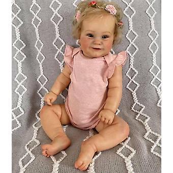 Genfødt lille barn populær maddie sød pige dukke med rodfæstet blondt hår blød kæle krop høj kvalitet dukke