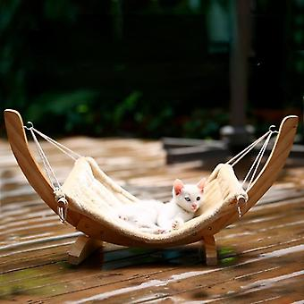 Wooden Swing Cat Bed House Swing Bed Sleeping Puppy Cat Pet Bed