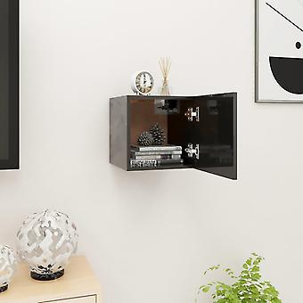vidaXL التلفزيون جدار مجلس الوزراء لمعان عالية الأسود 30,5x30x30 سم