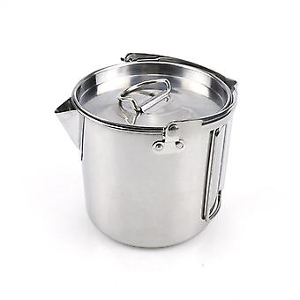 Outdoor 1.2l stainless steel kettle picnic camping hanging pot portable coffee pot teapot camping cooker for hiking camping trip