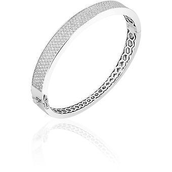 Gisser Jewels - Bracelet - Bangle Flat set avec Zircone - 9mm De Large - Taille 56 - Gerhodineerd Zilver 925
