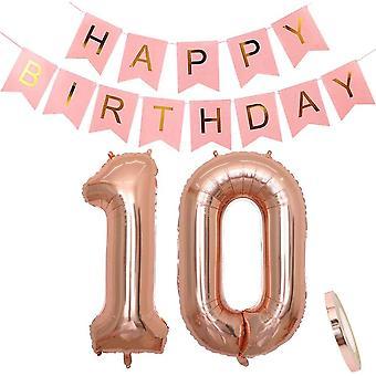 Geburtstagsdeko Rosegold für Mädchen: Folien-Luftballons Zahl 10 Roségold + Happy Birthday Girlande