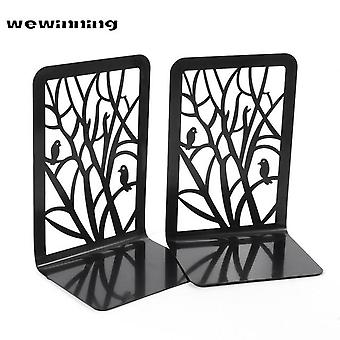 Book Stand Holder Rack Black Metal Non Slip Bookend Bracket Heavy Book End Office Book Stopper