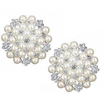 LAST FEW - 2 Pearl & Diamante 45mm Brooches for Wedding Bouquets & Crafts