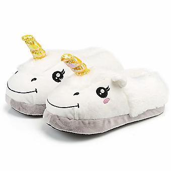 Unicorn Slippers White Soft Plush Indoor Slippers Slip-on