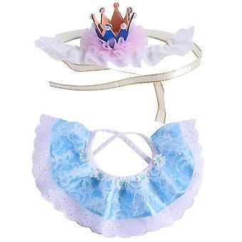 Pitsikissa Bandana ja kissan kruunun tarvikkeet, pieni koira vaaleanpunainen puku (sininen)