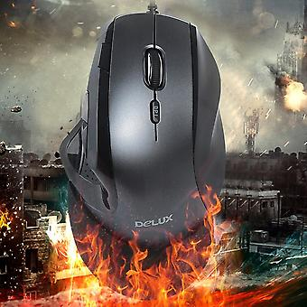 Delux M910 Wired Mouse Black&gray 5 Dpi Speed Gear Anti-skidding Design