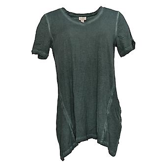LOGO by Lori Goldstein Women's Top Distressed Cotton Poly w/ Angled Seams Green A378830
