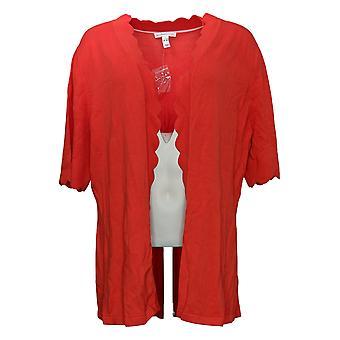 Isaac Mizrahi Dal vivo! Cardigan da donna con manica a gomito anteriore aperto rosso A306445