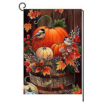 Syksyn kiitospäivän kurpitsa pieni puutarhalippu 12x18 tuuman pystysuora kaksipuolinen syksyinen vesiväri lintu burlap piha ulkona sisustus Bw044