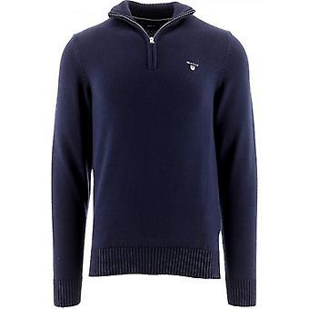 GANT Navy Casual Baumwolle Pullover mit halbem Reißverschluss