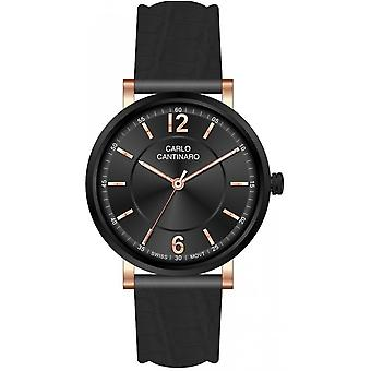 Carlo Cantinaro Black Genuine Leather CC1003GL008 Men's Watch
