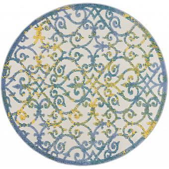 4 'Runder Elfenbein und Blau Indoor Outdoor Area Teppich