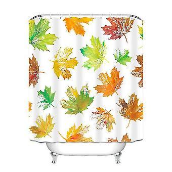 Shower curtains leaf printing thick waterproof shower curtain 180x180cm orange