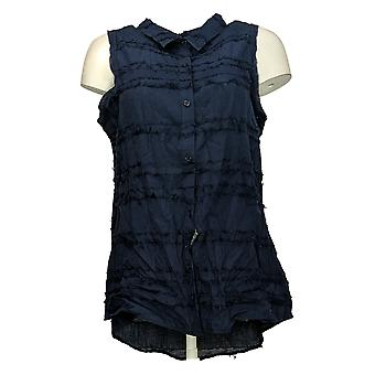 DG2 by Diane Gilman Women's Top Fringed Button-Up Sleeveless Blue 697871
