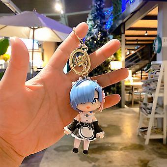 Élet egy másik világban a semmiből Rem Hand Office Aberdeen Key Chain Anime Díszek Medál Doll Kulcstartó