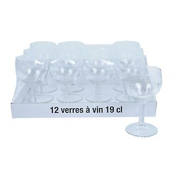 12Pcs Wine Glass Set 19cl Drink Glasses Bar Tableware