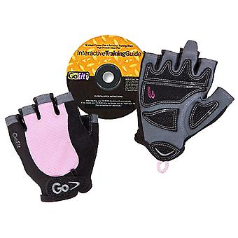 GoFit Women's Elite Gel Weight Lifting Gloves & Training CD - Black/Pink