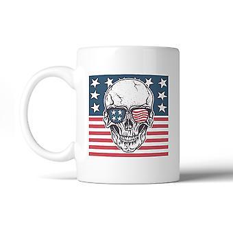 Skull American Flag Design Coffee Mug Microwave Dishwasher Safe